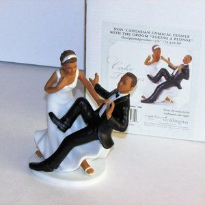 """WEDDING CAKE TOPPER THE GROOM """"TAKING A PLUNGE"""""""